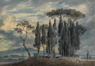 John  Robert Cozens (1752-1797)In the Gardens of the Villa Negroni at Rome -