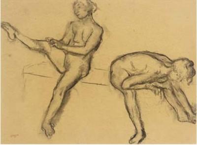 Edgar Degas (1834-1917)Étude de Nu - Deux femmes assises -