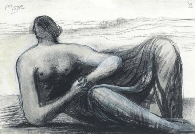 Henry Moore, OM CH (1898-1986)Draped Reclining Figure in a Landscape -