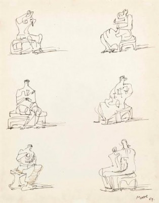 Henry Moore, OM CH (1898-1986)Studies for Seated Figures -