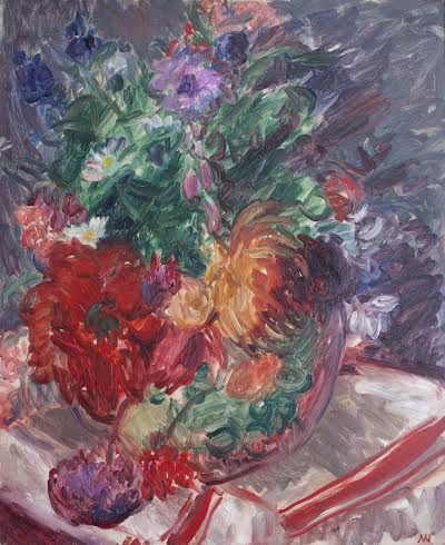 Matthew Smith (1879-1959), Still Life with Flowers and Striped Cloth