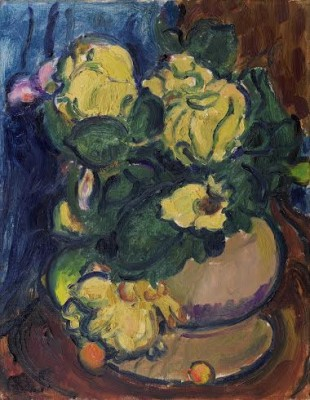 Matthew Smith (1879-1959)Yellow Flowers in a Round Vase -