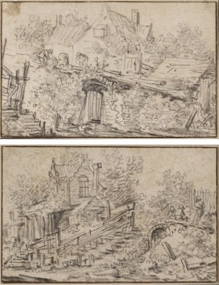 Jan Josefsz. Van Goyen (1596-1656)Two pages from a sketchbook: A ramshackle cottage with peasants resting and  An overgrown garden wall, a cottage beyond -