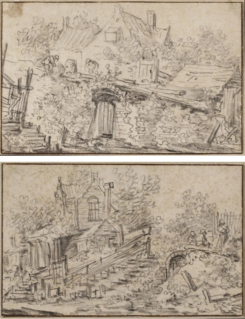 Jan Josefsz. Van Goyen (1596-1656), Two pages from a sketchbook: A ramshackle cottage with peasants resting and  An overgrown garden wall, a cottage beyond
