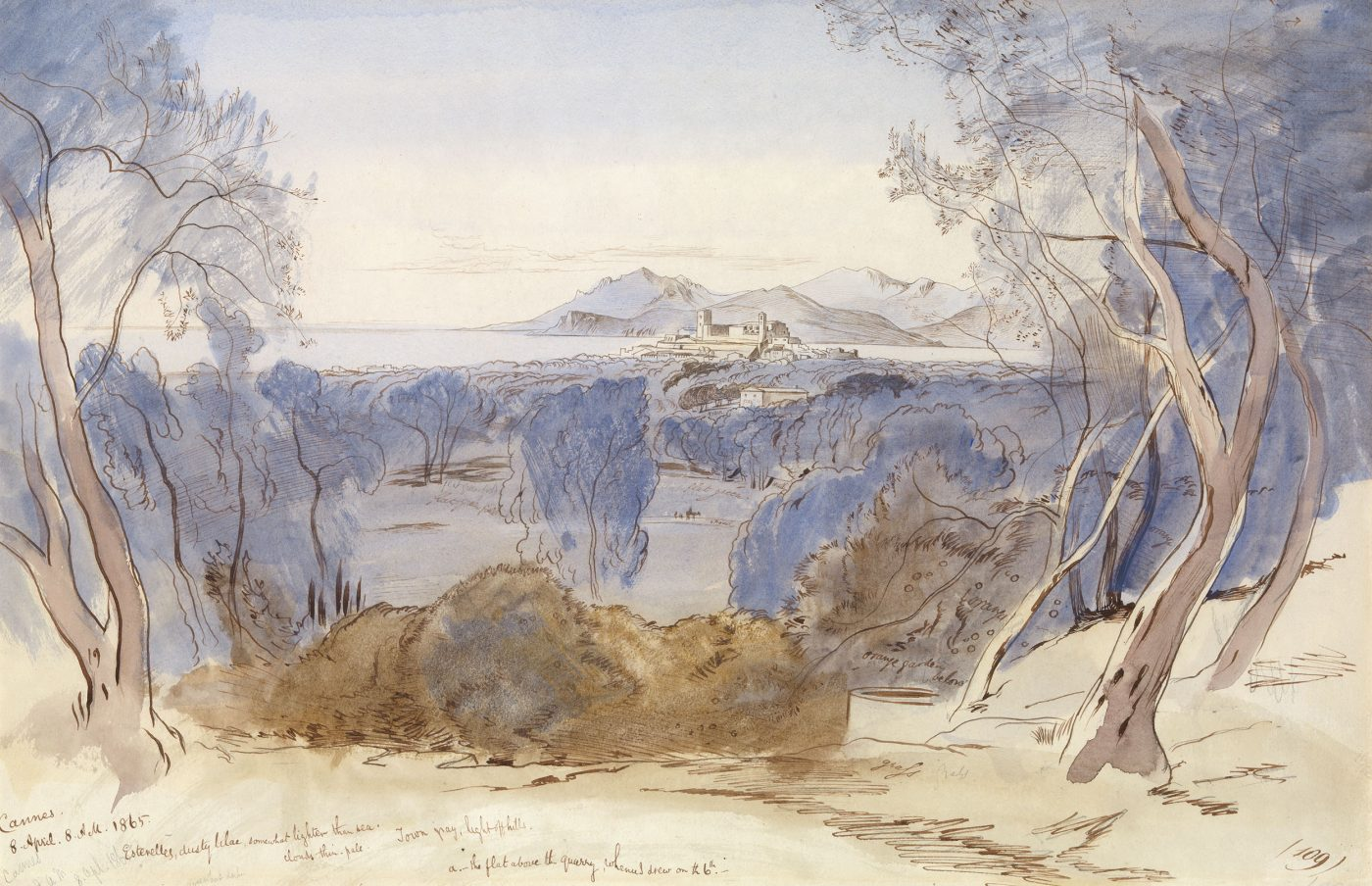 Edward Lear (1812-1888), Cannes and the Esterel Mountains