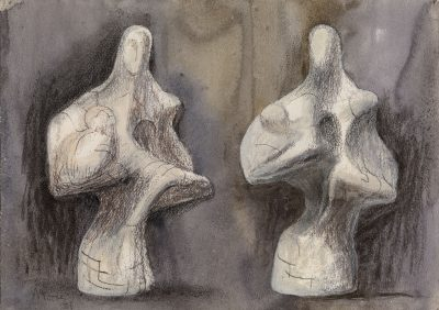 Henry Moore, OM CH (1898-1986)Two Views of Mother and Child sculpture -