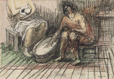Henry Moore, OM CH (1898-1986)Two Women Bathing a Child -