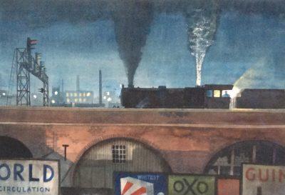 Charles Oakley (1925-2008)A steam Train on a bridge, Manchester -