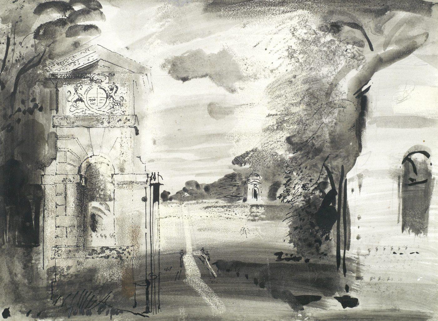 John Piper, CH (1903-1992), The Oxford Gates, Stowe