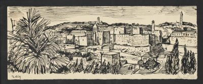 John Minton (1917-1957)Jerusalem, The Old City -