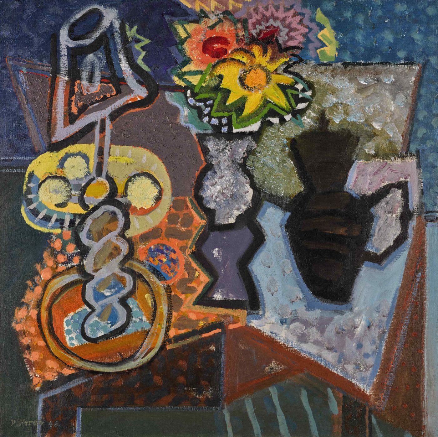 Patrick Heron (1920-1999), Lamp, Dahlias and Sunflower