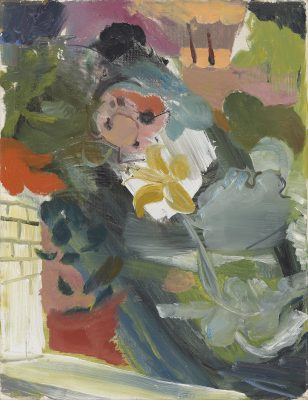 Ivon Hitchens (1893-1979)Flowers by Flagstones and Wall -