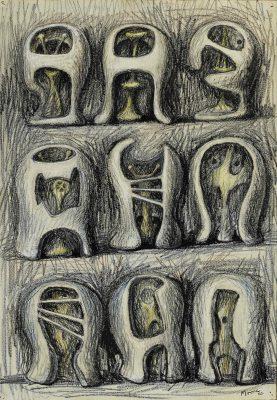 Henry Moore, OM CH (1898-1986)Nine Helmet Heads -