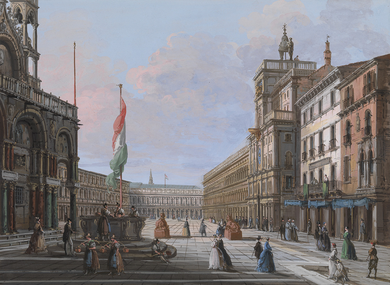 Giuseppe Bernardino Bison (1762-1844), View of St. Mark's Square, Venice, with the Clock Tower to the right and St. Mark's Basilica to the left