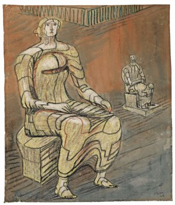 Henry Moore, OM CH (1898-1986)Seated Woman with Figure in Background -