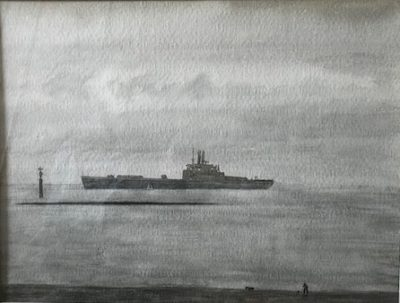 Richard Eurich, RA, OBE (1932-2017)Container Ship on The Solent with a Man walking His Dog -