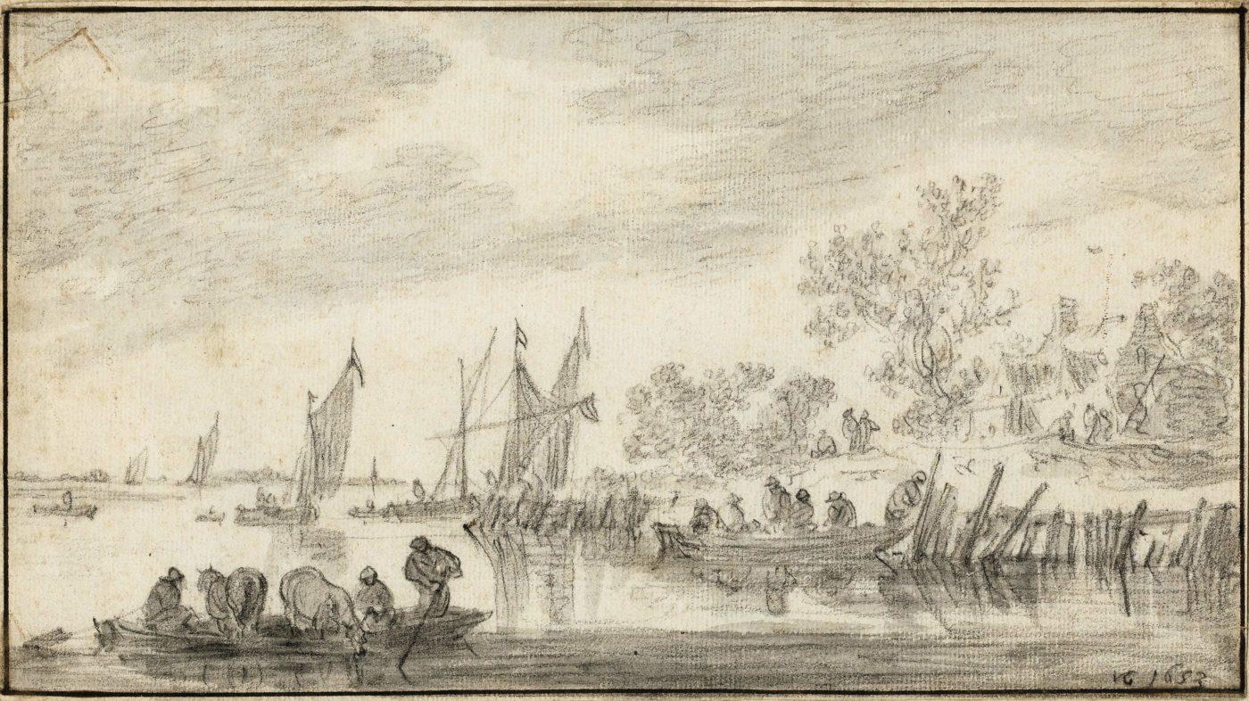 Jan Josefsz. Van Goyen (1596-1656), Landscape with Boats and a Ferry
