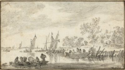 Jan Josefsz. Van Goyen (1596-1656)Landscape with Boats and a Ferry -