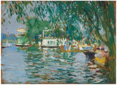 Joseph Oppenheimer (1876-1966)House Boats on the Thames -